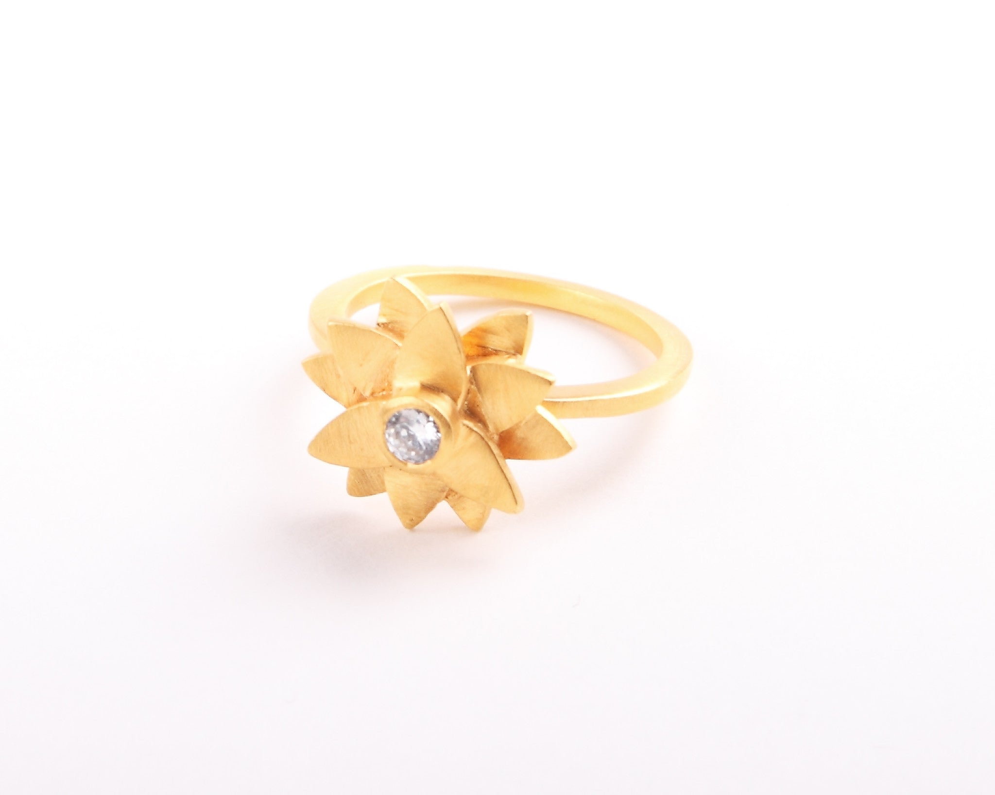 Lotus Flower 22KT Gold Plated Ring with center crystal