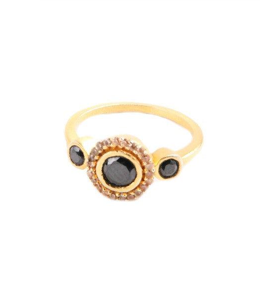 Gold Onyx Crystal Ring