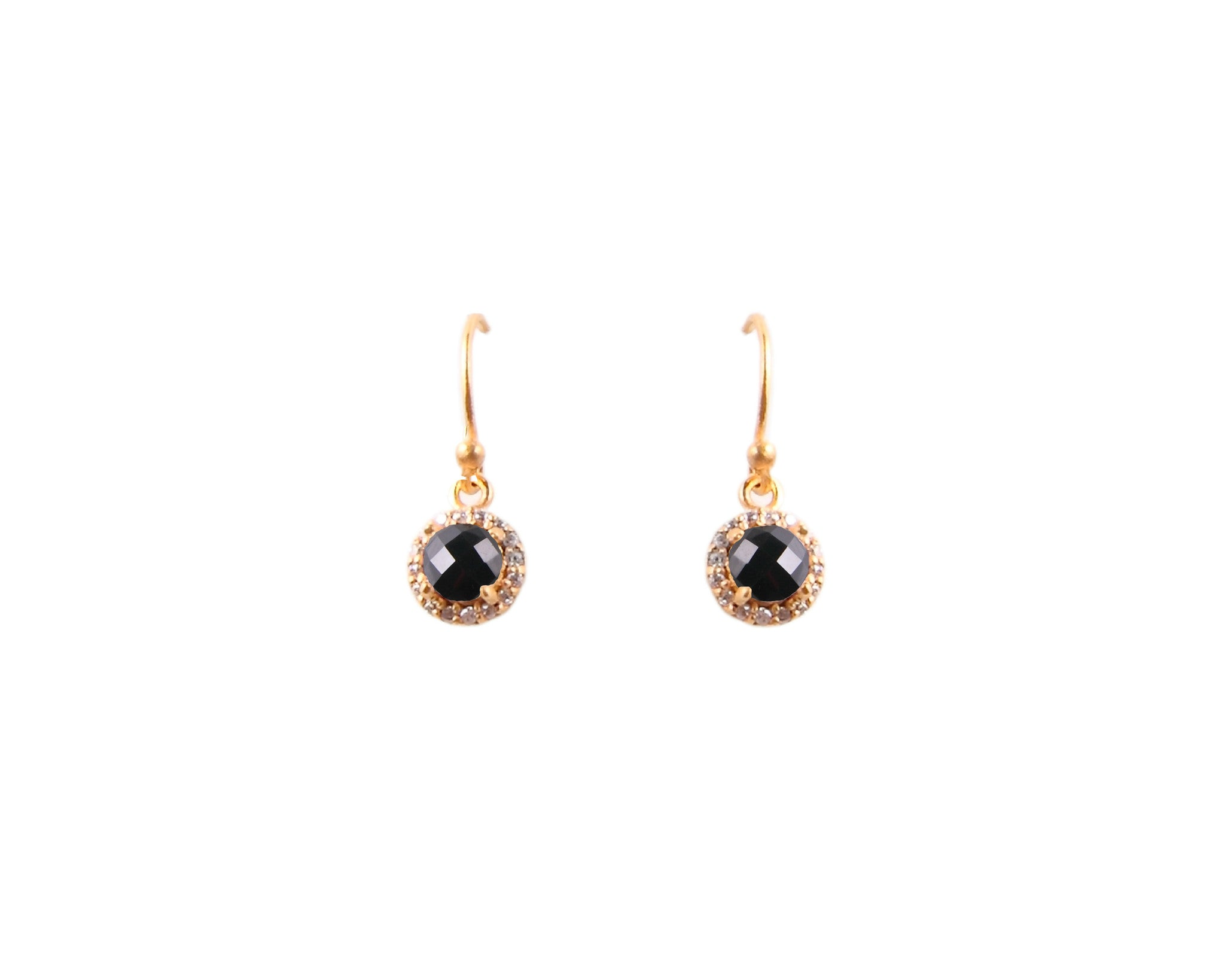 Gold Onyx and Crystal Earrings