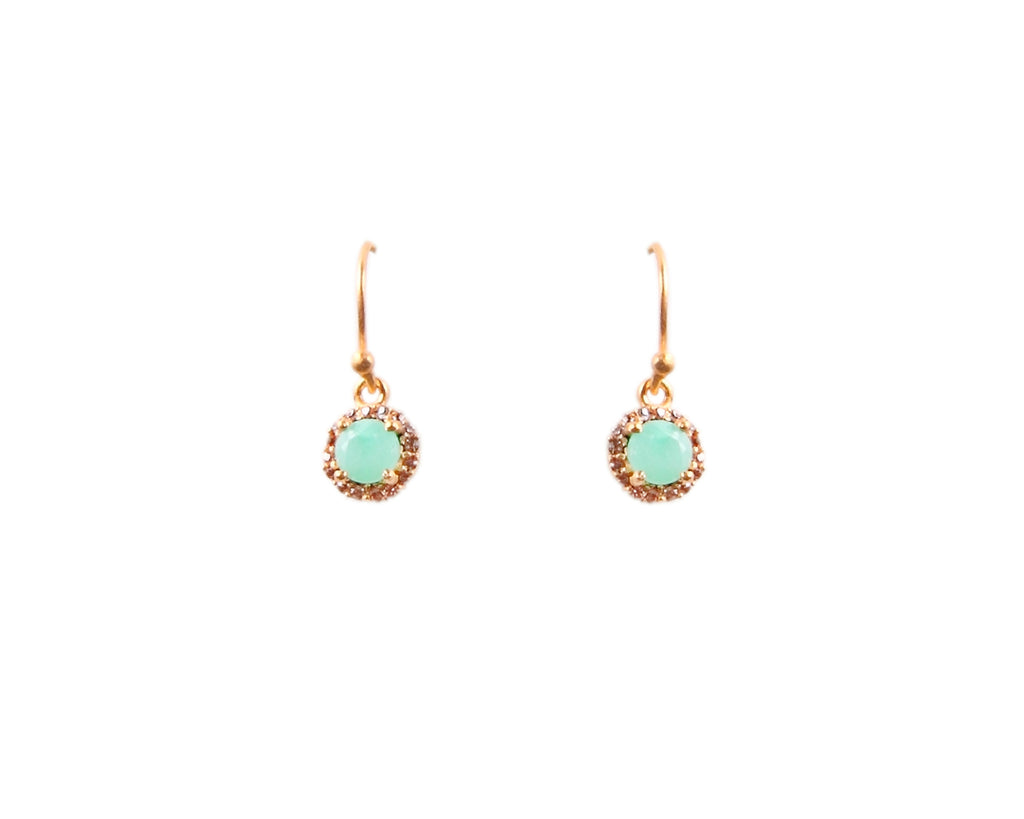 Gold Chrysoprase and Crystal Earrings