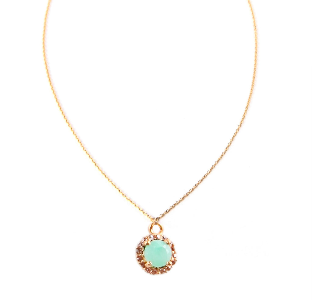 Gold Chrysoprase and Crystal Necklace