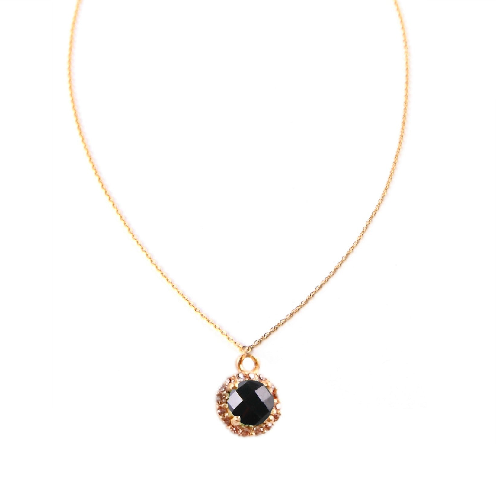 Gold onyx and Crystal Necklace