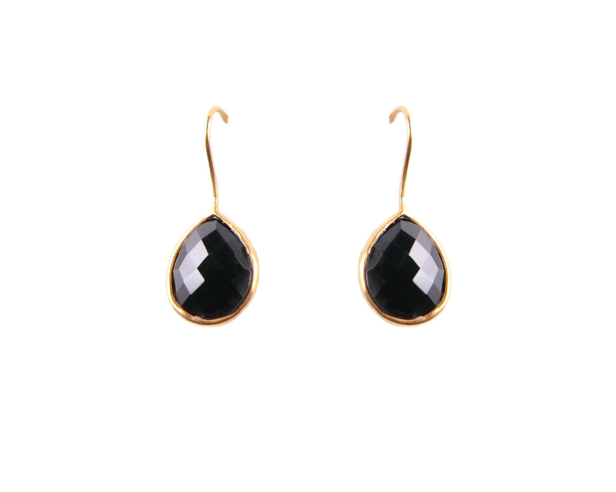 22KT Gold Plated Black Onyx Drop Earrings from the Raindrop Collection