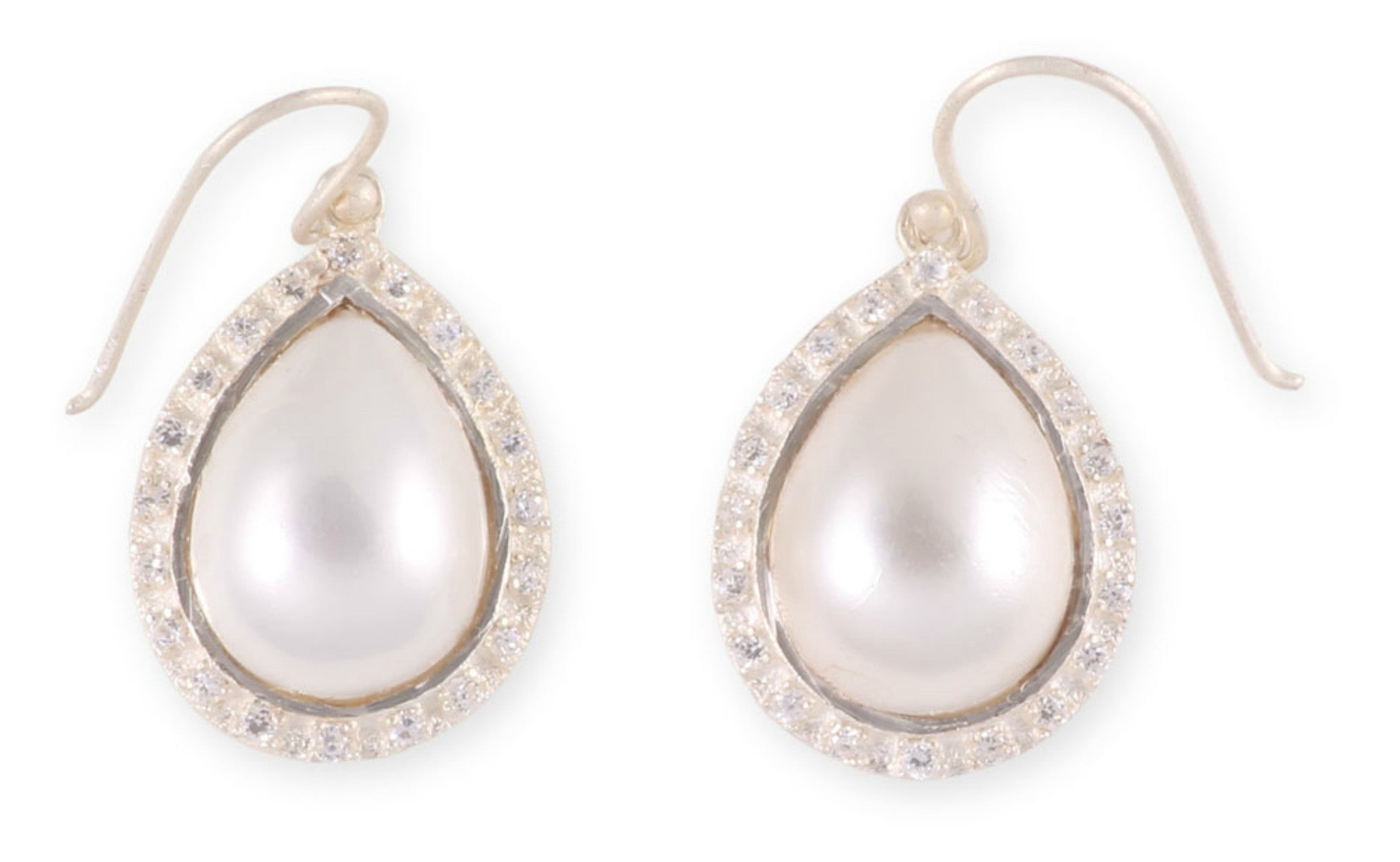 Silver Pearl Drop Earrings with Crystal Surround from the Raindrop Collection