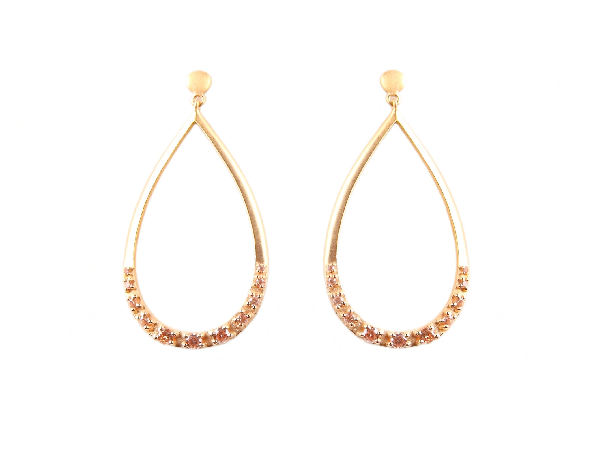 Small Open Raindrop Gold Plated Earrings with Yellow Citrine stones