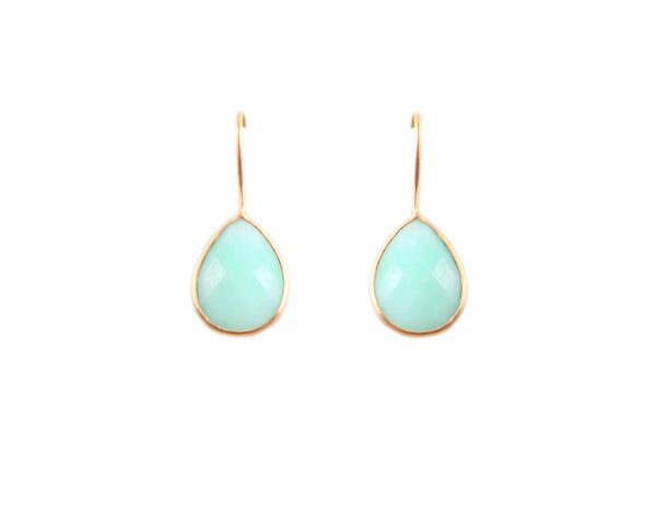 22KT Gold Plated Green Chrysoprase Drop Earrings from the Raindrop Collection