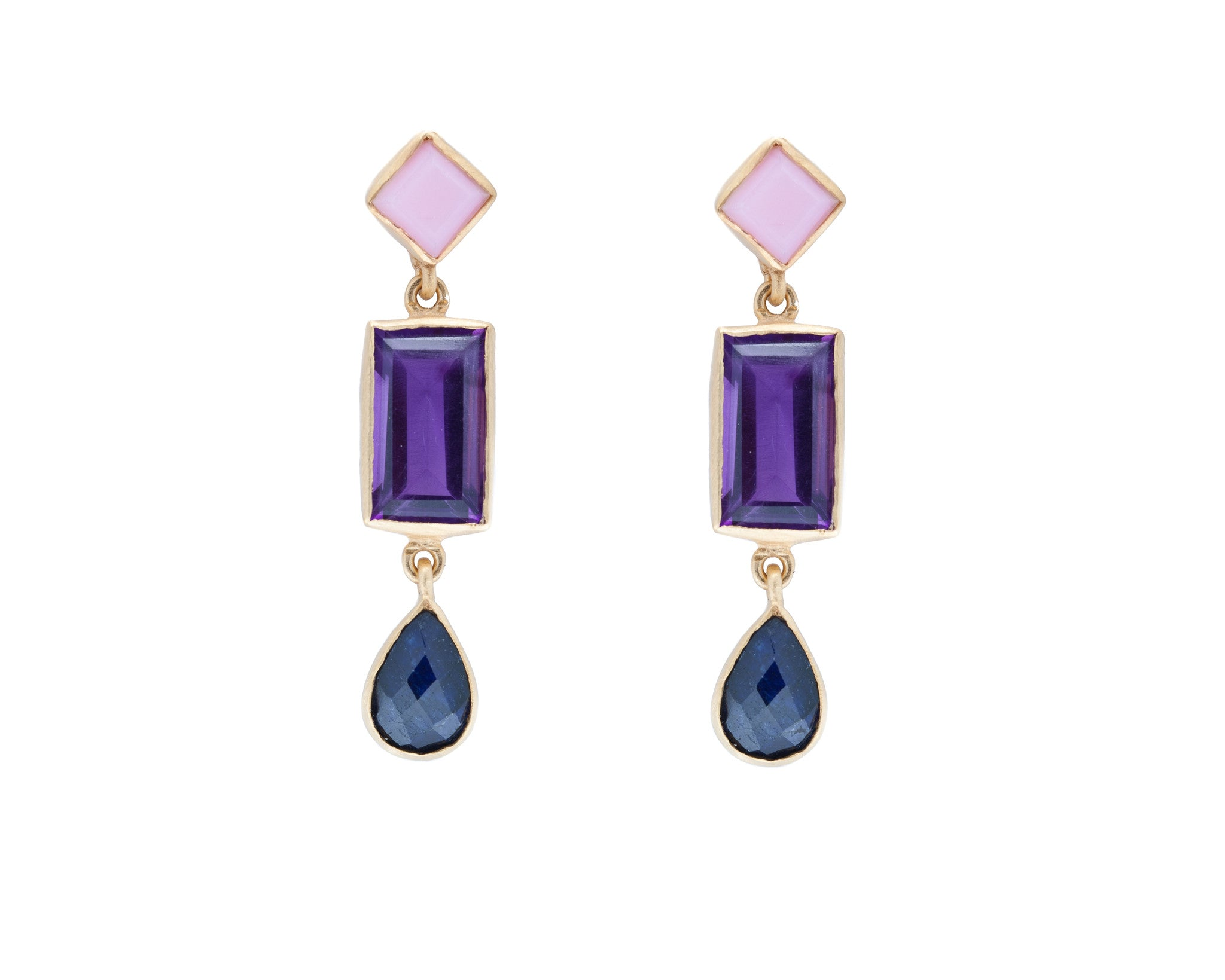 Pink Peruvian Opal, Purple Amethyst and Blue Sapphire Drop Earrings from the Raindrop Collection