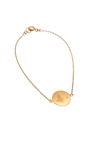 22KT Gold Plated Chain Bracelet with a Disc inscriptied with the soundwave 'Strength' from the Soundwaves Collection