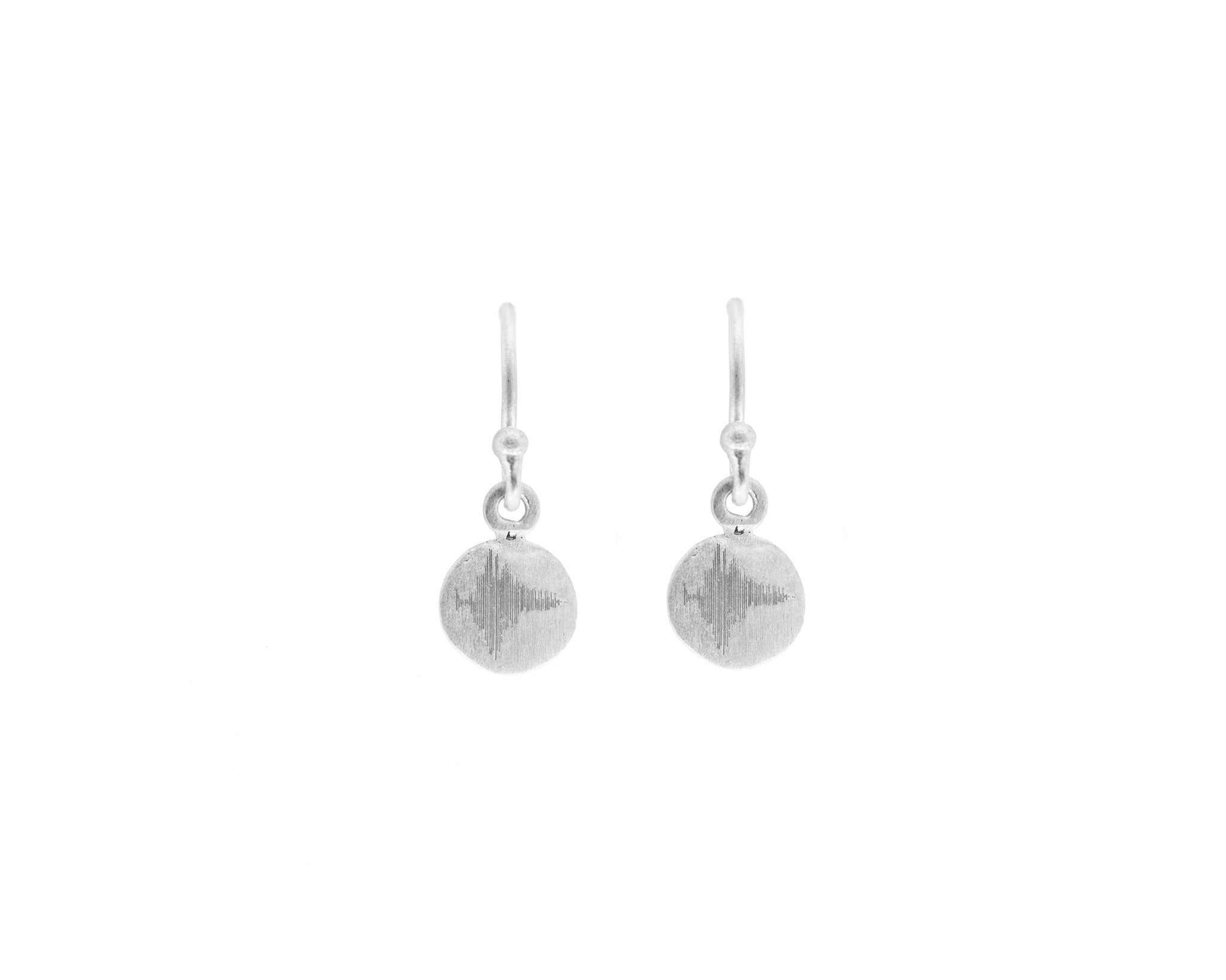 Sterling Silver Soundwaves Small Disc Earrings