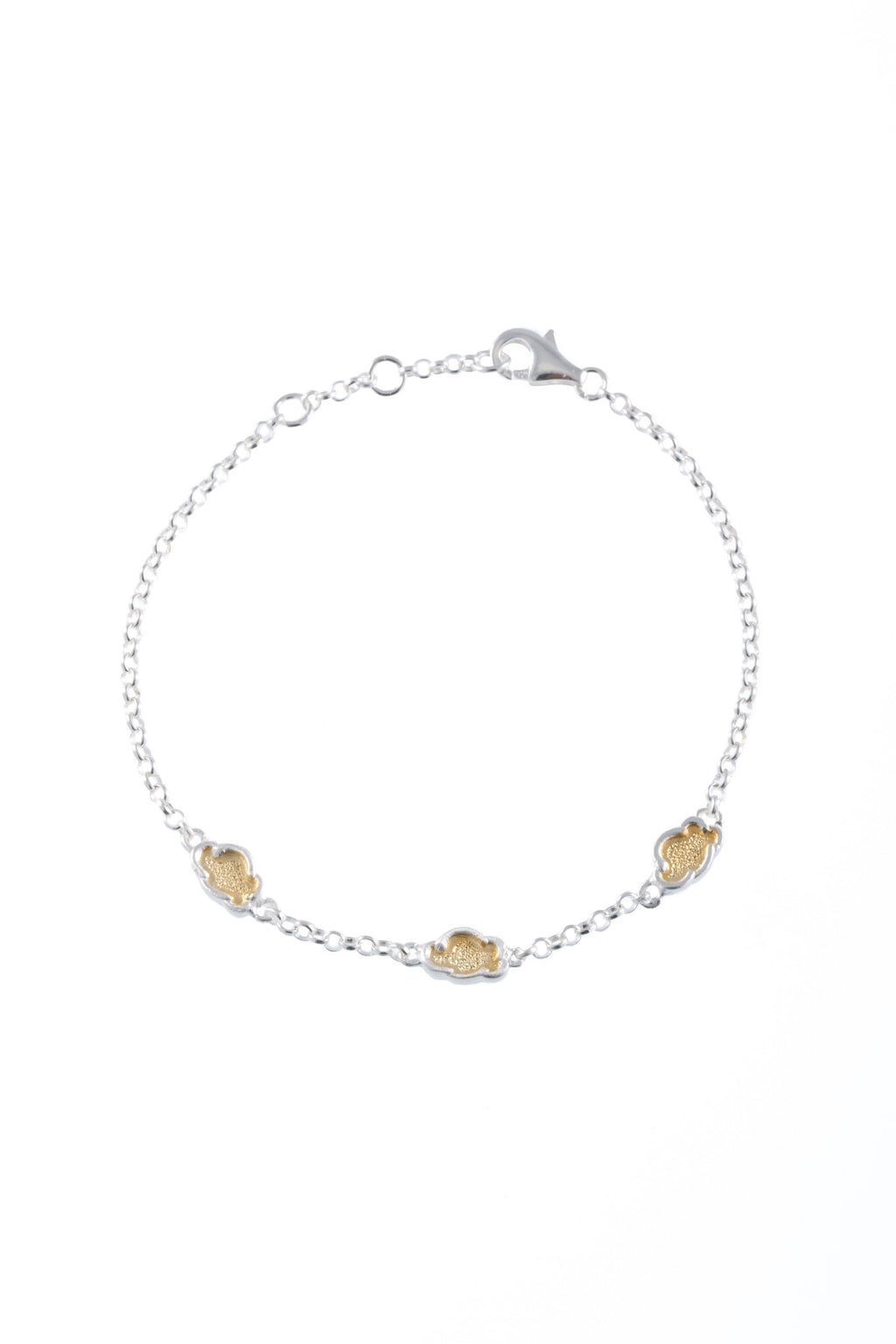 Sterling Silver Chain Bracelet with Three 22KT Gold Plated Cloud shaped disks from the Silver Linings Collection