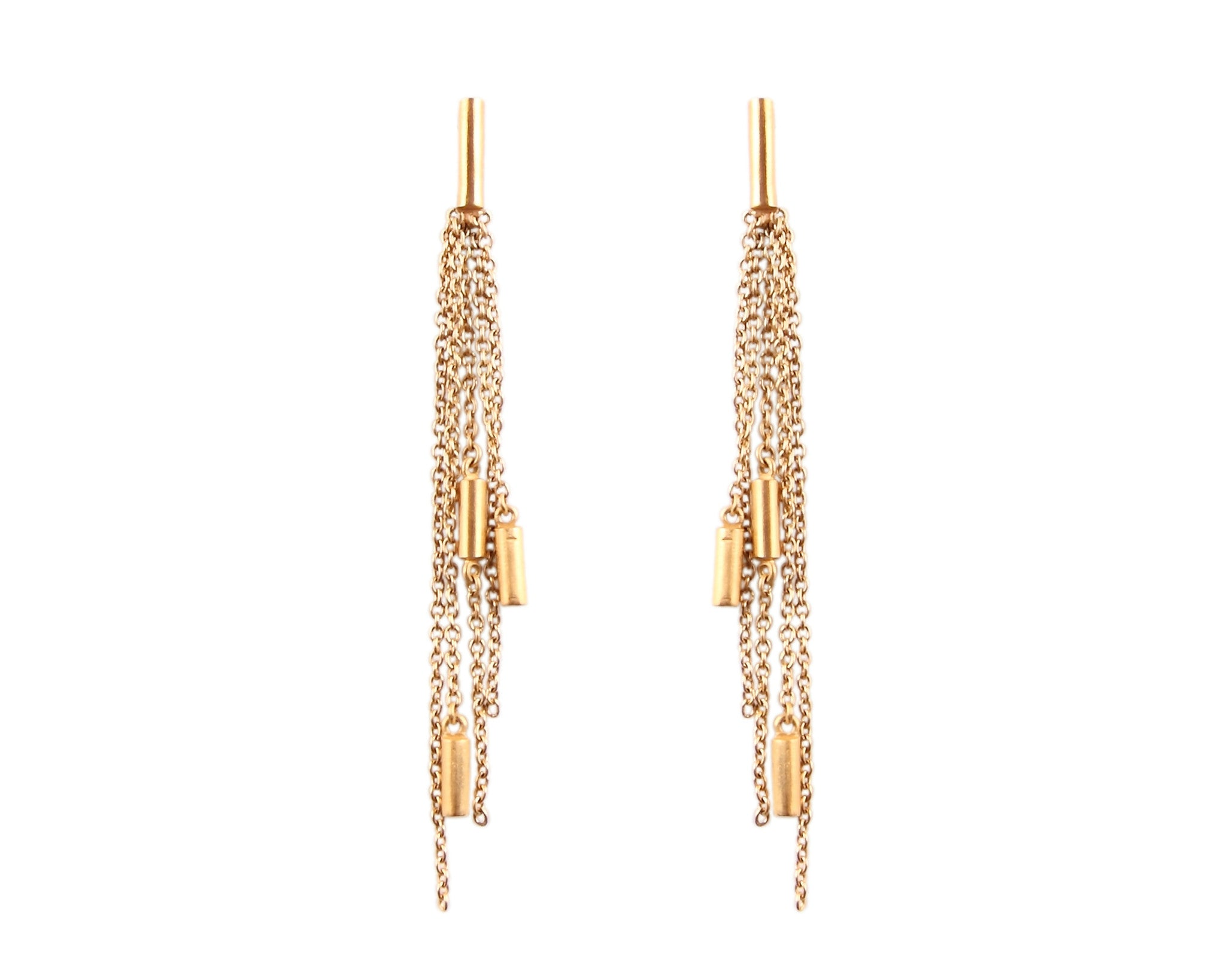 Gold Ogham Engraved Chain Earrings