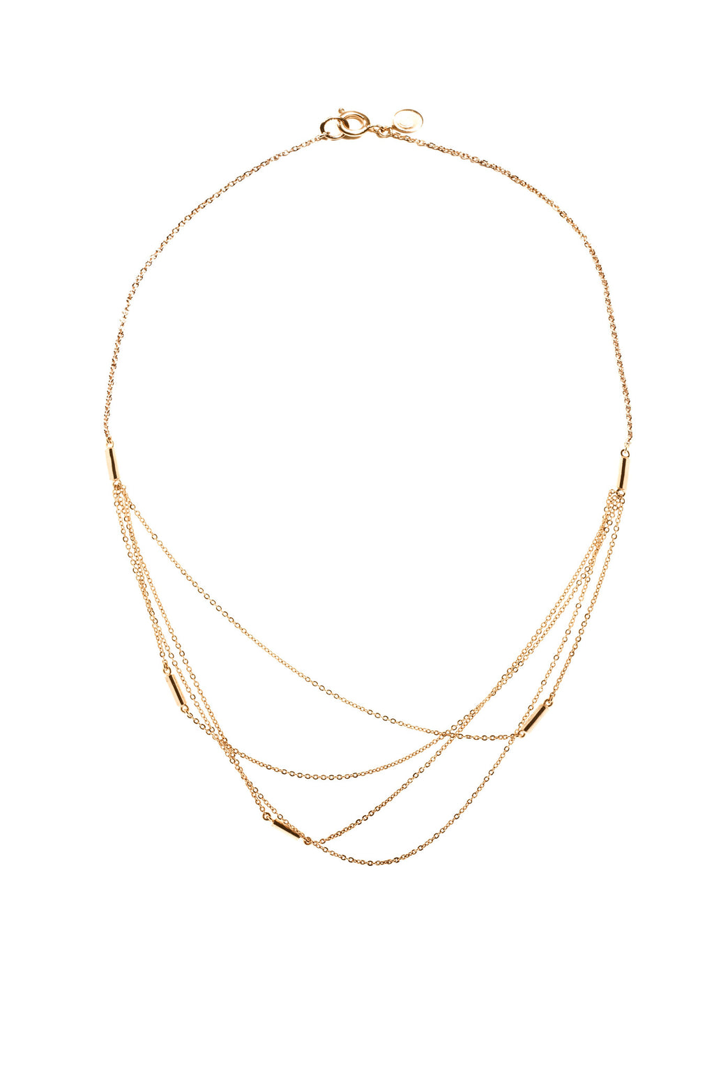 22KT Gold Plated Multi Layered Necklace from the Ogham Collection