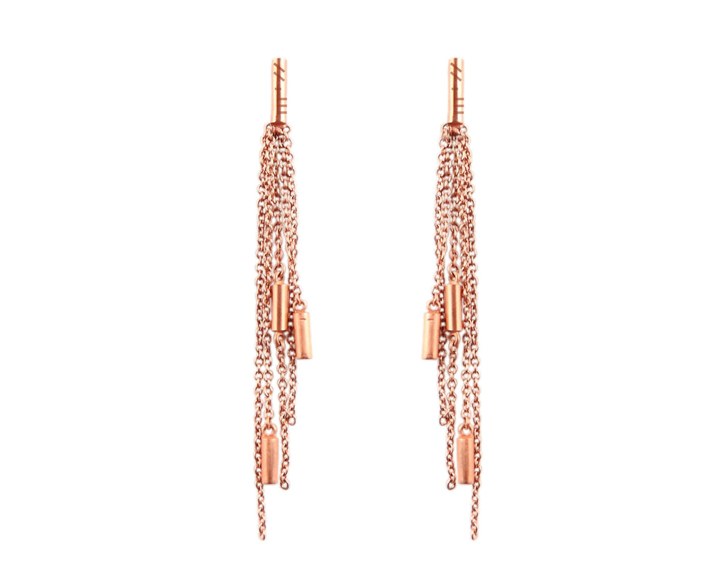 Rose Gold Long Chain Earrings from the Ogham Collection