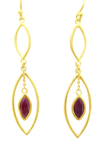 Ruby Gold Big Earrings