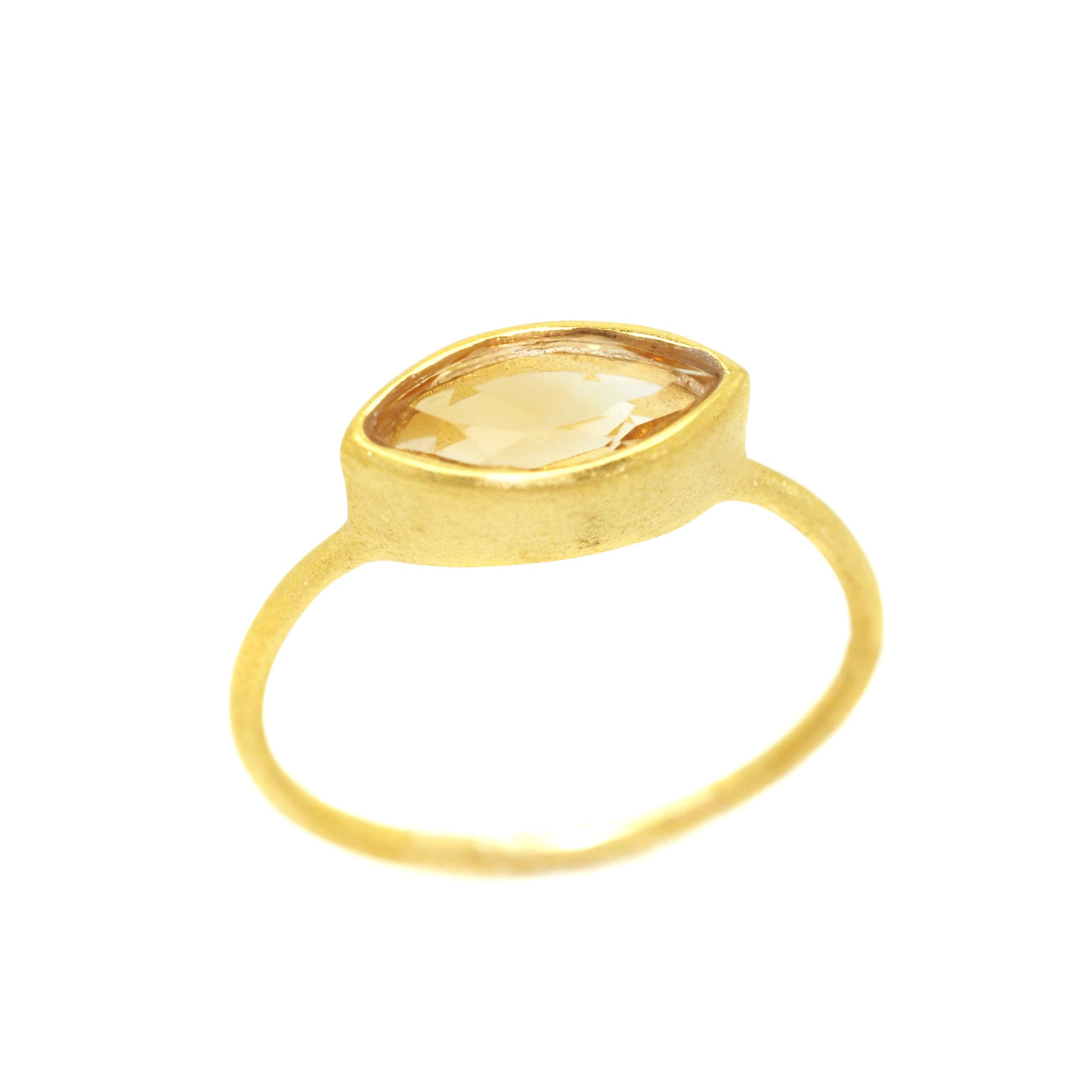Citrine Gemstone Gold Ring