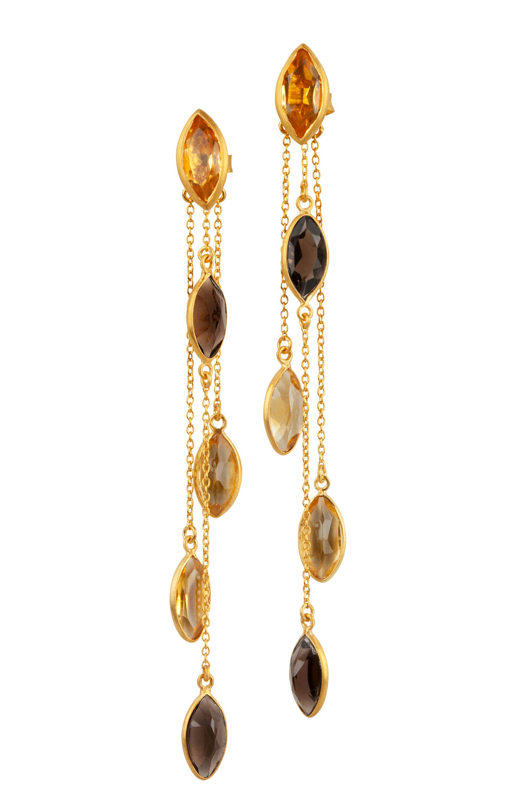 Citrine and Smoky Quartz Multiway Drop Earrings from the Willow Collection