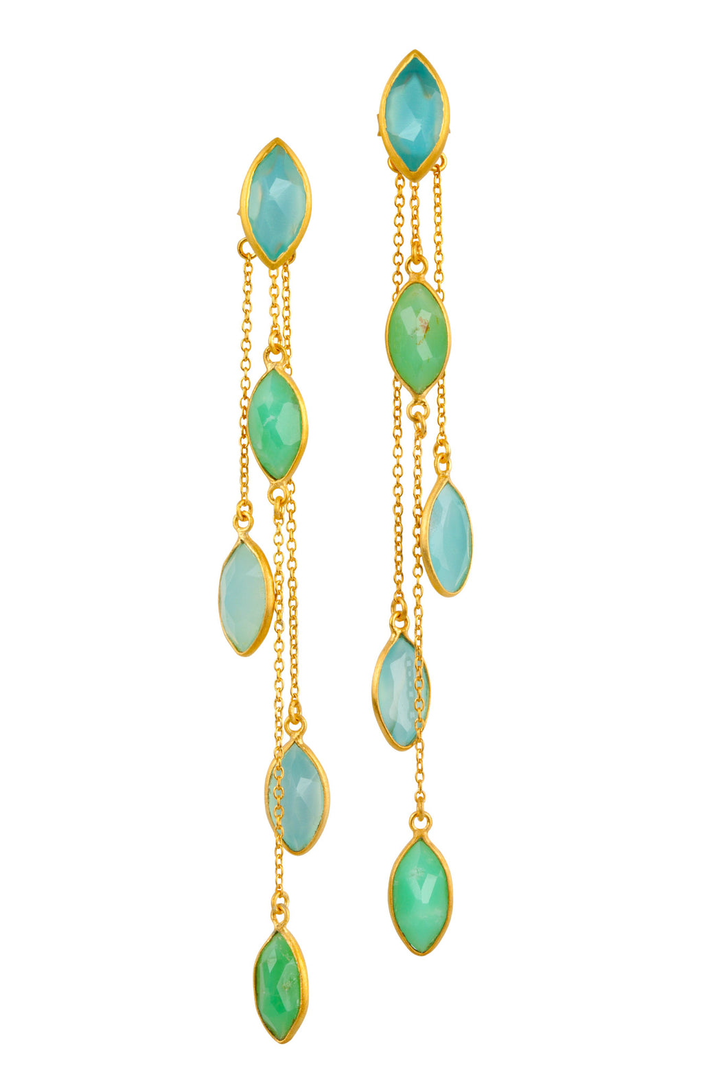 Chalcedony and Chrysoprase Gold Dangle Earrings