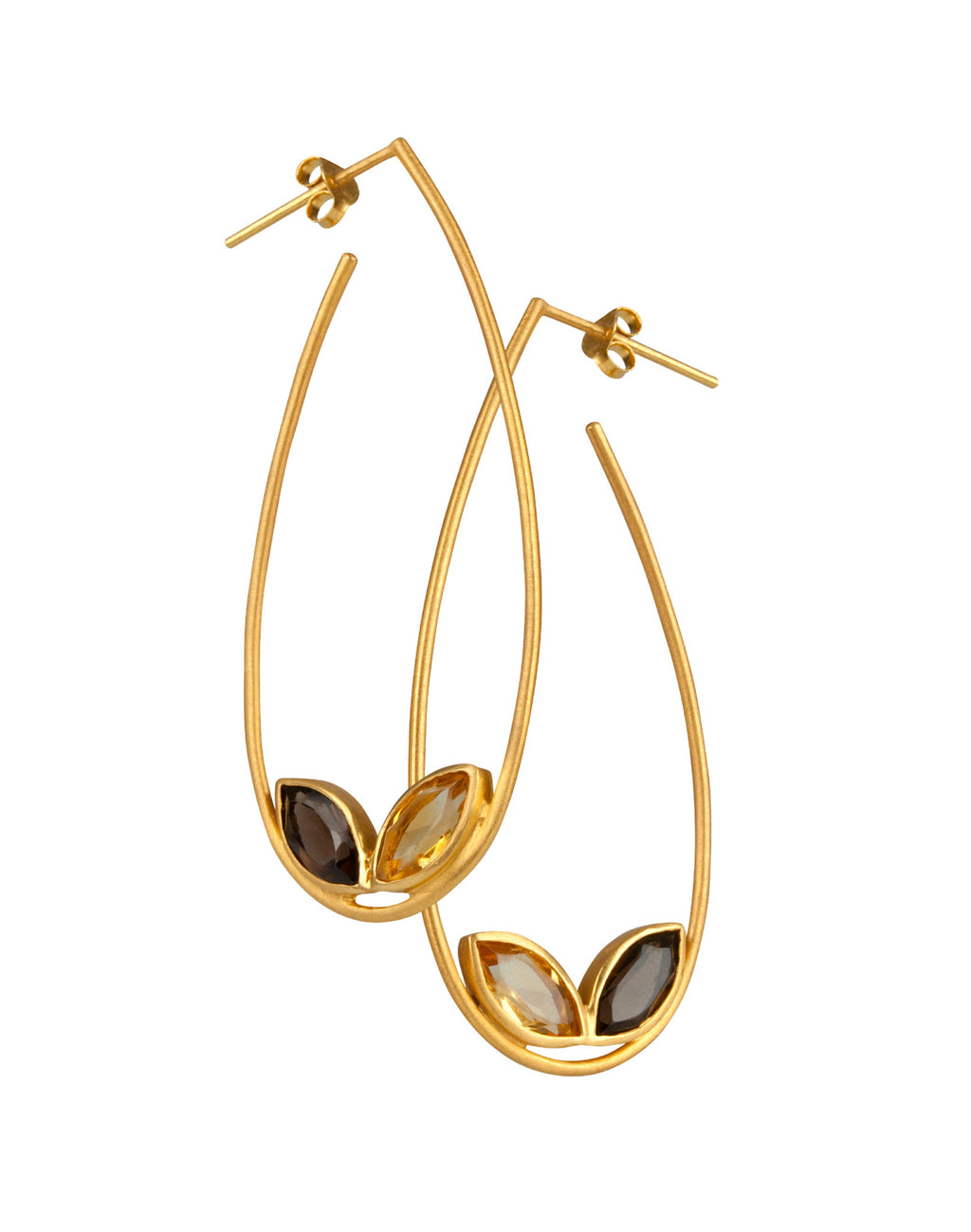 Citrine and Smoky Quartz Hoop Earrings from the Willow Collection