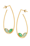 Chalcedony and Chrysoprase Gold Hoop Earrings