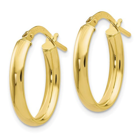 Leslie's 10K Polished Yellow Gold Oval Hoop Earrings