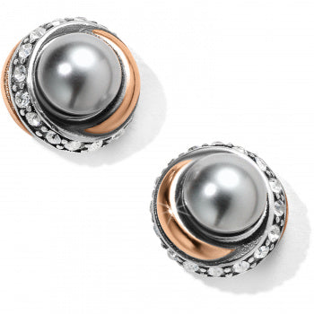 Neptune's Rings Gray Pearl Button Earrings