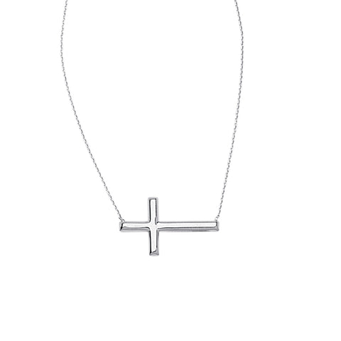 Small Sideways Cross Necklace