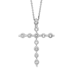 14k White Gold  Diamond Cross Necklace