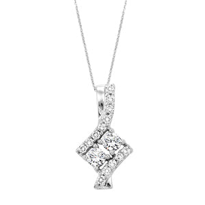 Sterling Silver 2 Stone Diamond Pendant Necklace