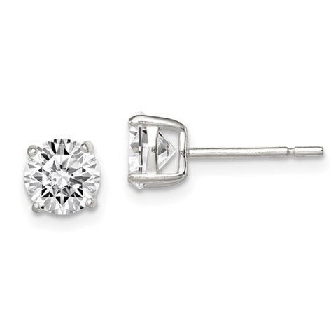 Sterling Silver 6mm Round Basket Set CZ Stud Earrings