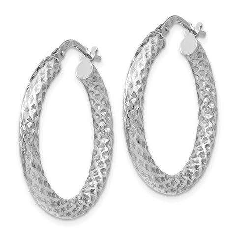 Leslie's Sterling Silver Polished And Textured Hinged Hoop Earrings