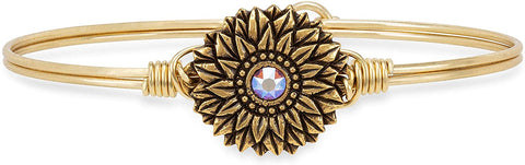 Sunflower Bangle Bracelet in Brass
