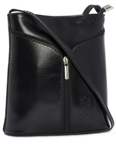 Black Italian Leather Cross Body Bag with Front Zip