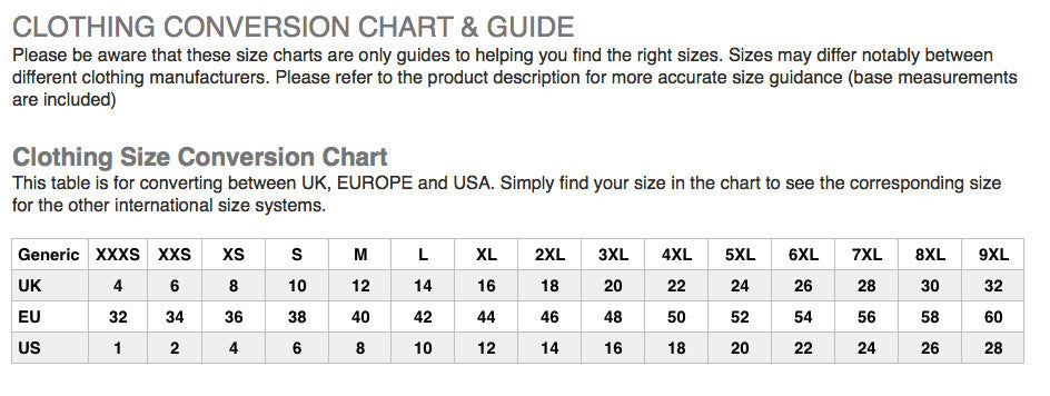 Modern Outfitters Ladies Clothing Size Chart