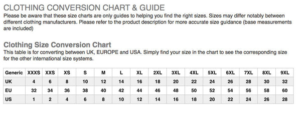 Modern Outfitters Ladies Size Guide