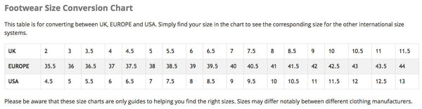 Modern Outfitters Ladies Shoes Size Chart