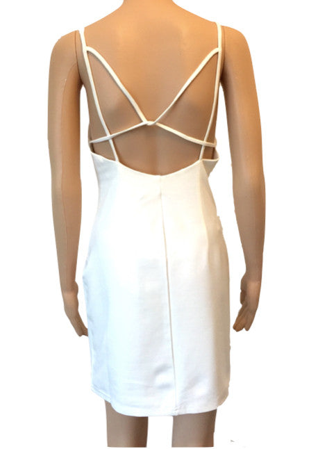 Naanaa Cream Bodycon Party Dress With Back Strap Detail Size 12