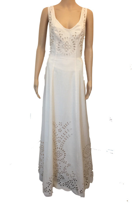 Candela Designer Dream Blush Nude Maxi Dress Laser Cut Outs Size 12