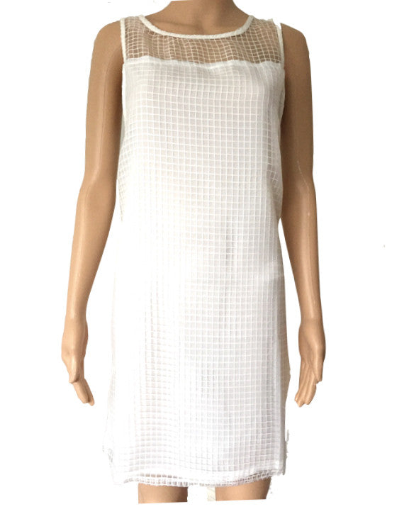 Exclusive White Shift Dress With Check Organza Yoke from ASOS Size 12
