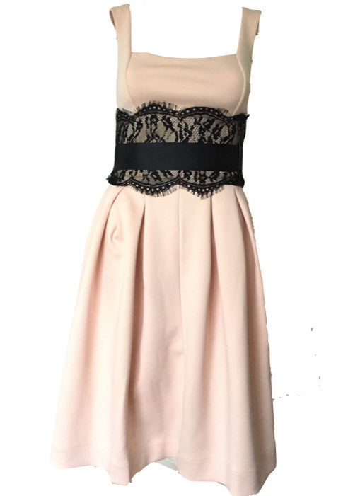 Nude Debutante Midi Eve Party Dress With Black Lace Trim from ASOS Size 6