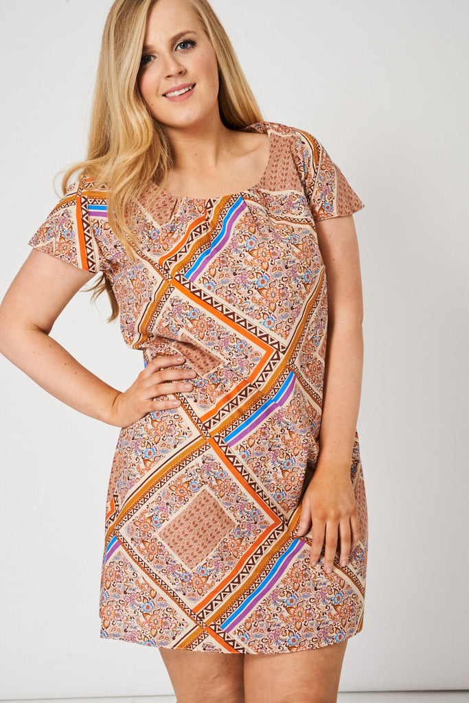 Abstract Print Pleat Front Tunic Top / Dress