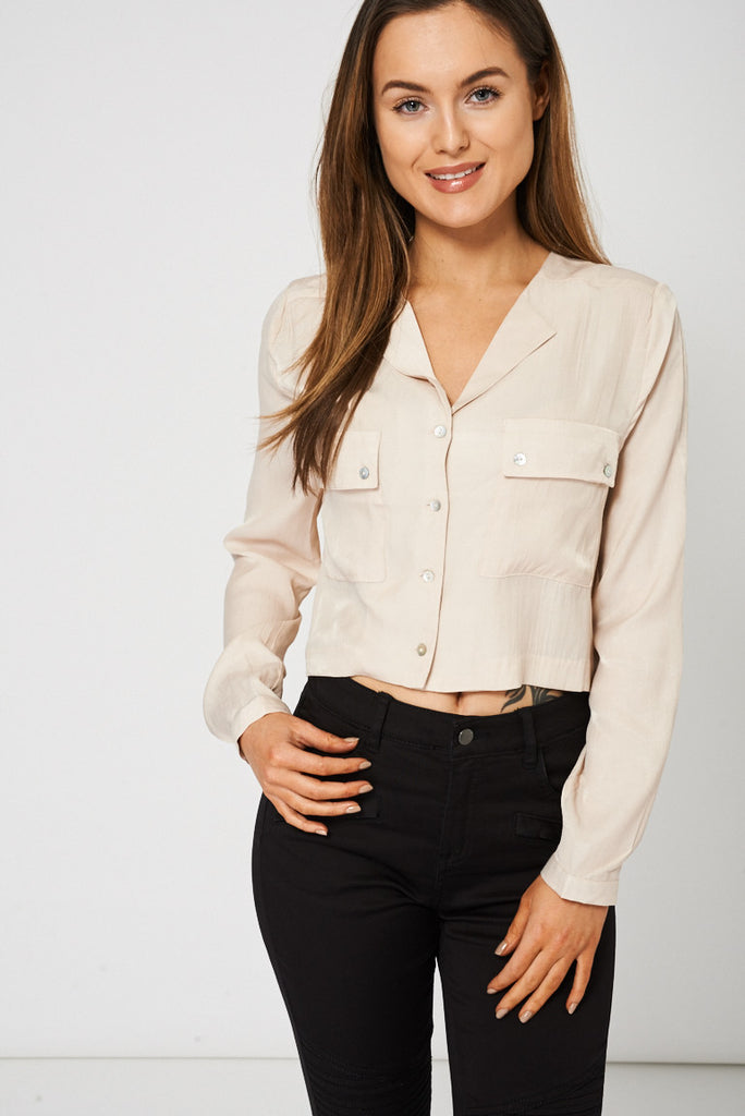Beige Crop Top With Front Pockets