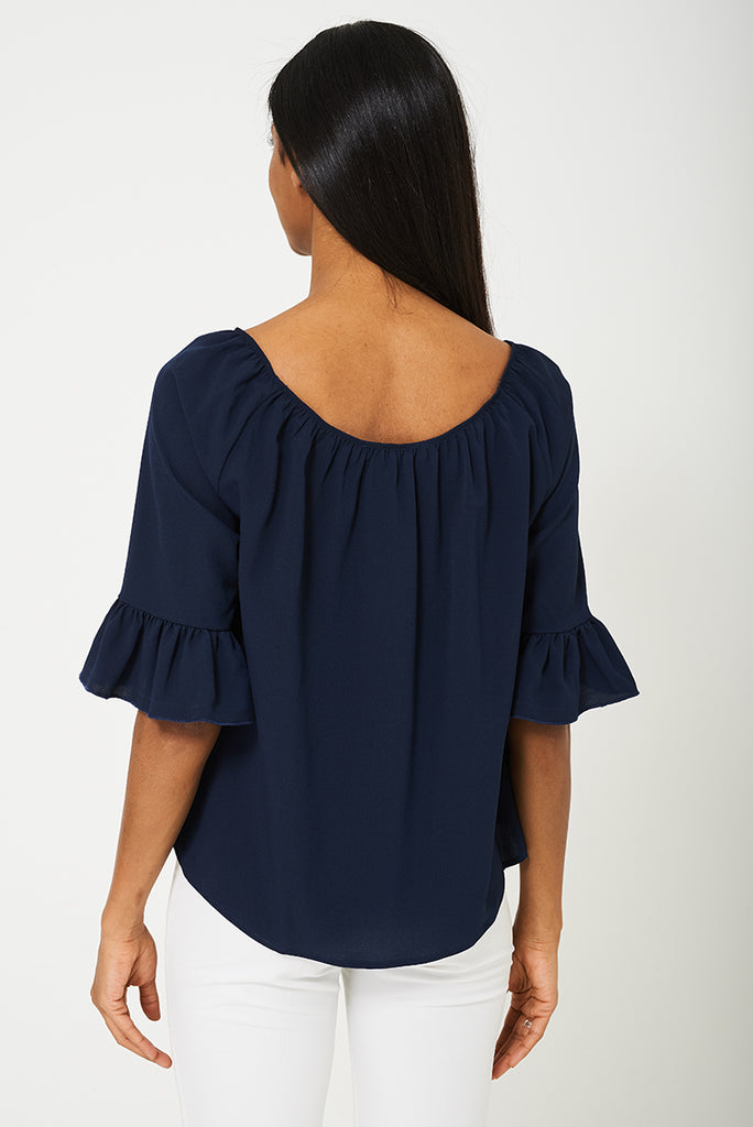 Bik Bok Bell Sleeve Top In Navy