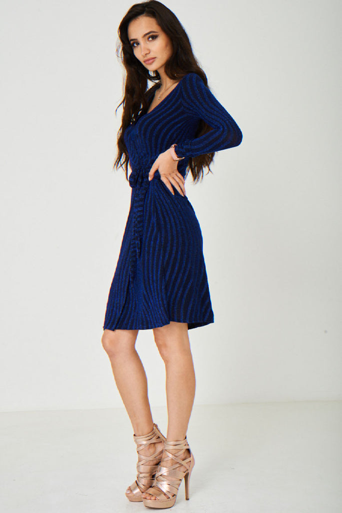 Blue Wrap Front Sparkling Dress