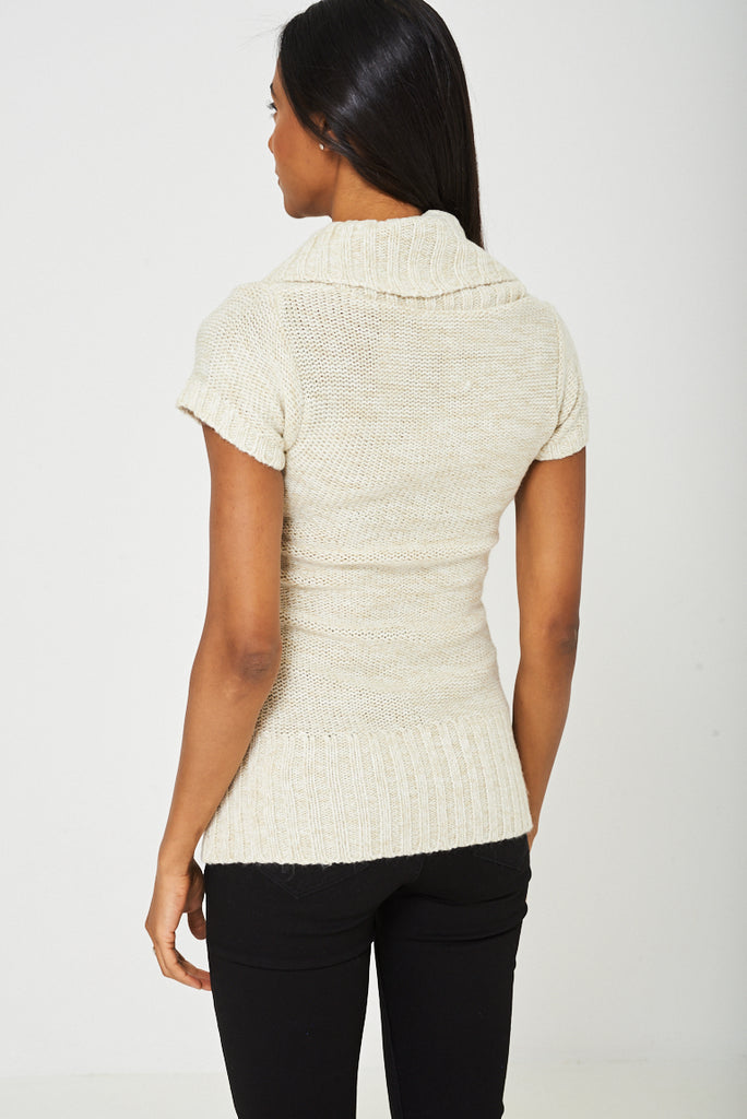 Chunky Knit Top In Beige