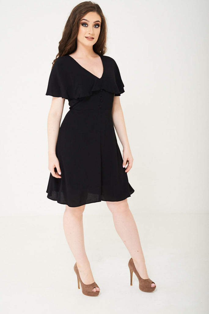 Black Skater Dress With Ruffle Layer Ex Brand-black-6