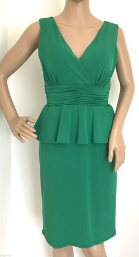 Kaliko Emerald Green Peplum Pencil Cocktail Cruise Eve Dress Size 10 - 18