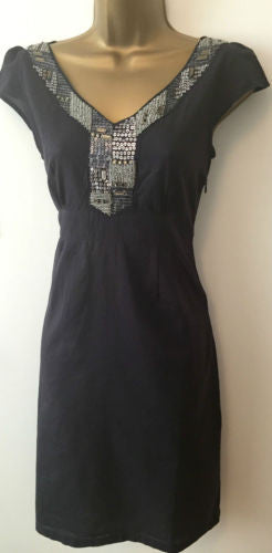 Per Una Summer Cotton Beaded Indigo Blue Tea Shift Dress Size 10 - 12