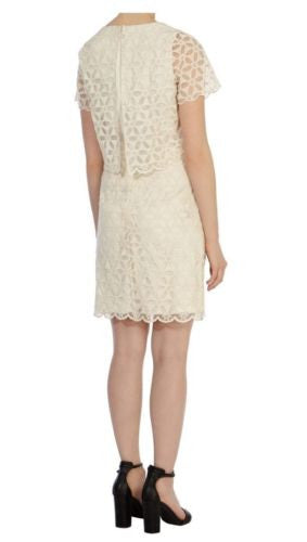 Coast Imogen Cream Lace Cocktail Party Pencil Dress Size 8 - 16 - YourMO