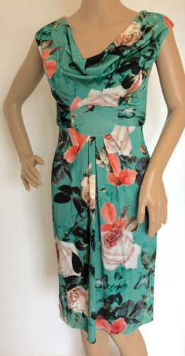Wallis Green Floral Butterfly Print Cowl Shift Tea Dress Size 8 - 18