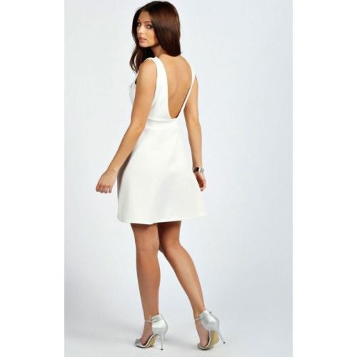 Boohoo Amelia Ivory Plunge Embellished Fit & Flare Dress Size 8 - 14 - YourMO